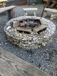 Very cool firepits made out of oyster shells. They had oyster shell fences surrounding the dining area as well.