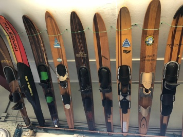 Old waterskis hanging over the front door inside the store. Cool!