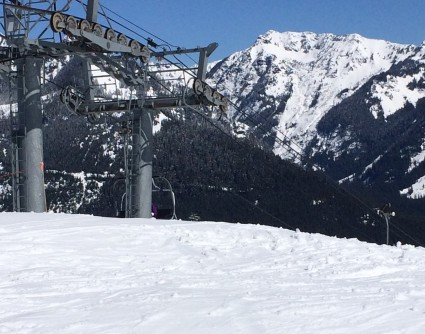 Sunny day of Skiing on The Pass