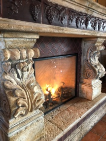 Gorgeous fireplace in the tasting room
