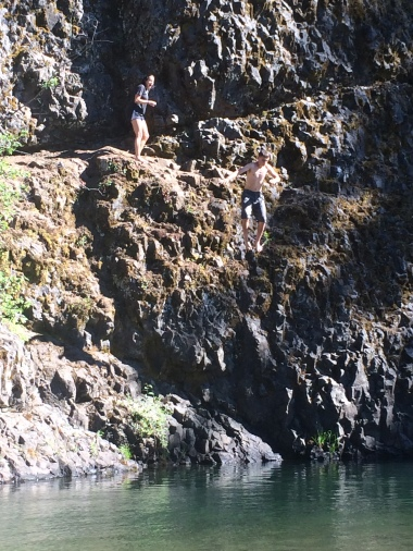 Cliff jumping just past the Long Meadow campground
