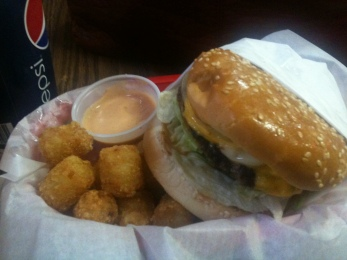 Delicious burger at tots - WITH FRY SAUCE - at the Three Rivers Resort