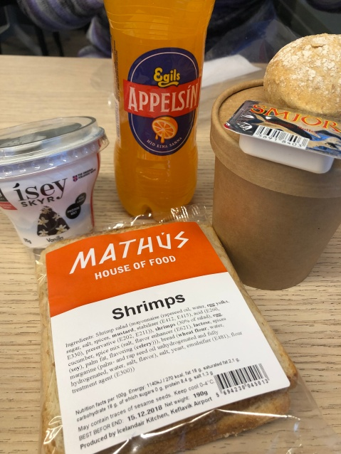 Shrimps are delicious! Some of the tasty treats purchased with my Icelandair layover voucher