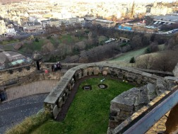 Looking down onto the New Town and Princes Street Gardens from the castle (Photo credit: K. Spoor)