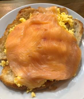 Delicious Scottish lox and scrambled eggs - Yum!