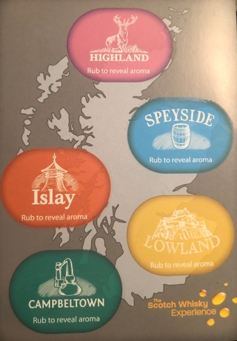 It's a scratch-n-sniff of the five whisky distilling regions!