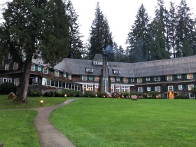 The back view of historic Lake Quinault Lodge