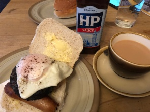 My favorite breakfast of the trip! Strong tea and a breakfast roll with sausage, haggis, bacon rasher and egg. YUM!