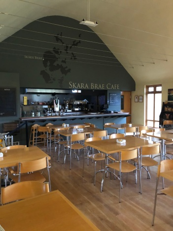 I like how the cafe interior pays homage to the rounded roofs of the Skara Brae homes.