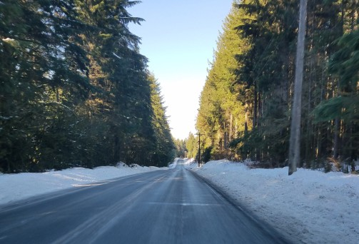 A total SHEET OF ICE on the Mt Loop Highway... (Photo Credit: B. Skoczen - Because I WAS WHITE KNUCKLING IT)
