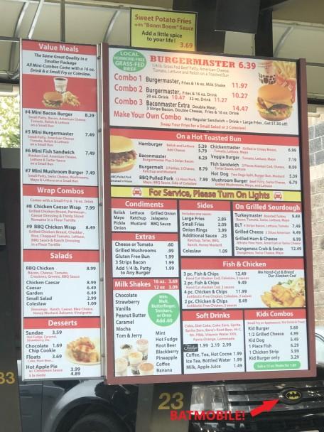 Burgermaster menu - AND a Batmobile!