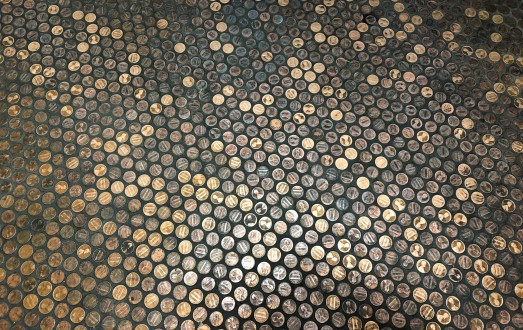 A truly unique floor in the Nutty's bathroom...