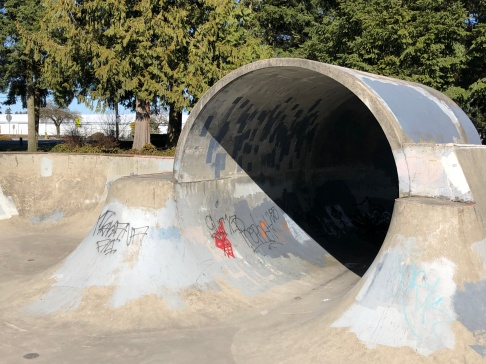 The capped fullpipe at Arlington Skatepark