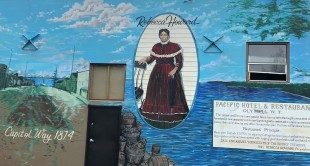 Rebecca Howard mural on the 222 Market in downtown Olympia
