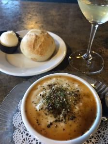 Fresh chowder with sherry, homemade sourdough roll and a great glass of wine... Yes, please.