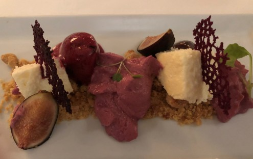 A deconstructed fig and berry cheesecake. WOW!