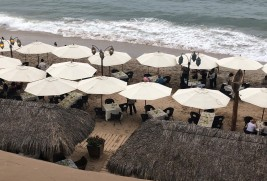 Dinner service at the private La Palapa beach area