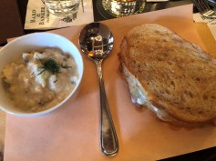 Delicious seafood chowder and grilled cheese