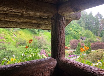 A sneaky view of the Sunken Gardens from a little cabin above