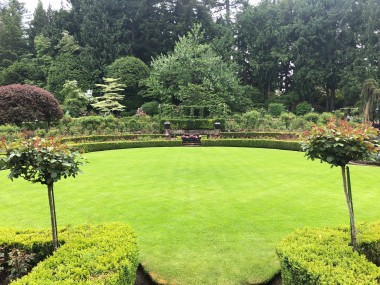 Manicured lawns and beautiful rose gardens