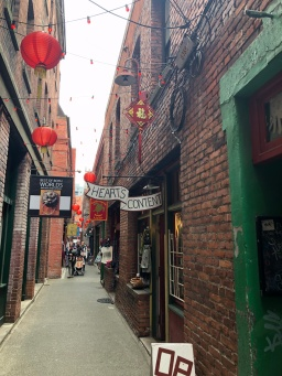 Many shops are tucked into this tiny alley