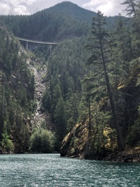 The North Cascade Highway, towering above Lake Diablo