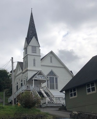 The stately Pioneer Church in downtown Cathlamet
