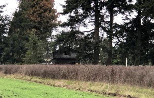 Davis Blockhouse at Sunnyside Cemetery from Ebey Landing farmland