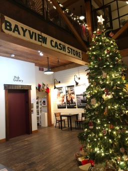 A lovely holiday scene inside the Bayview Cash Store