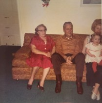 Great Grandma Brown, Grandpa Brown me and my mom.