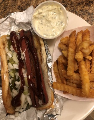 Grilled hot dog and CRINKLE FRIES w/Ranch Drive-in tartar. YES, PLEASE!