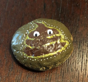 My dear friend Emily painted this rock for me. I call him Poopie.