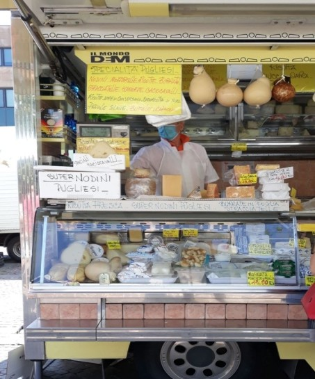 Wonderful goods at an open-air Italian market