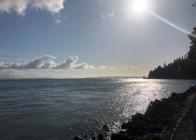 Looking towards Astoria and the Pacific Ocean from Dismal Nitch on the Columbia River
