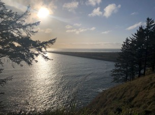 Looking out from Cape Disappointment towards the North Jetty and Benson Beach