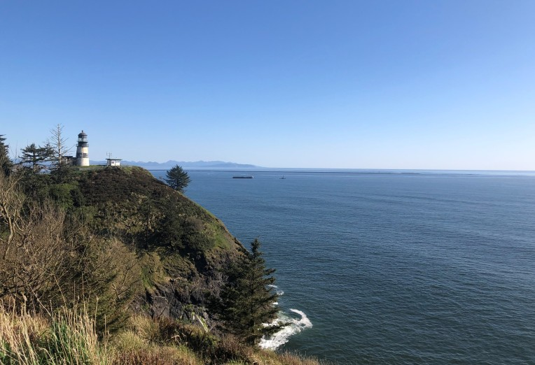 The Columbia River flowing into the Pacific Ocean