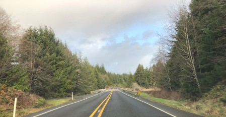 Open road and beautiful scenery along SR-105