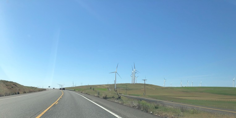 Clear skies and windmills along US-97