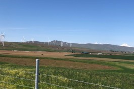 Pastures and windmills along US-97